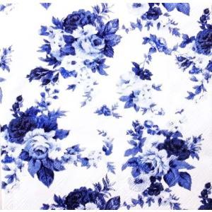 Ambiente オランダ ペーパーナプキン アントワネット ブルー 薔薇 花 Antoinette Blue 13308456 バラ売り2枚1セット デコパージュ ドリパージュ|ccpopo