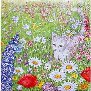 Ambiente オランダ ペーパーナプキン 夏の草原 花 猫 蝶 Summer Meadow 13308695 バラ売り2枚1セット デコパージュ ドリパージュ|ccpopo