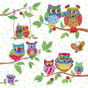 Ambiente オランダ ペーパーナプキン ふくろう Owls In Summerland 13308715 バラ売り2枚1セット デコパージュ ドリパージュ|ccpopo