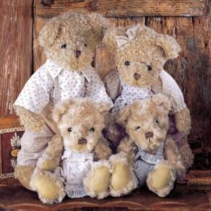Ambiente オランダ ペーパーナプキン テディベアの家族 Family Teddybear 13308750 バラ売り2枚1セット デコパージュ ドリパージュ ccpopo