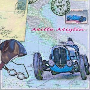 Ambiente オランダ ペーパーナプキン クラシックカーレース Mille Miglia 13309175 バラ売り2枚1セット デコパージュ ドリパージュ|ccpopo