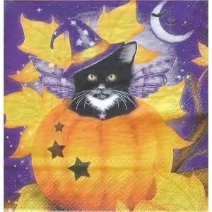Ambiente オランダ ペーパーナプキン ハロウィーンキャット Halloween Cat 13309320 バラ売り2枚1セット デコパージュ ドリパージュ ccpopo