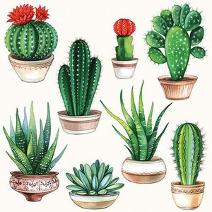 Ambiente オランダ ペーパーナプキン サボテン Cactus White 13310255 バラ売り2枚1セット デコパージュ ドリパージュ|ccpopo