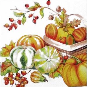 Ambiente オランダ ペーパーナプキン 秋の収穫 かぼちゃ パンプキン ローズヒップ バラ売り2枚1セット デコパージュ ドリパージュ 13310955|ccpopo