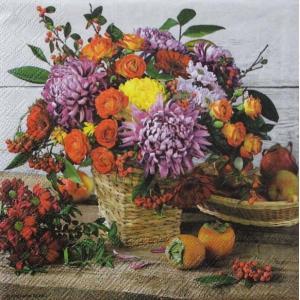 Ambiente オランダ ペーパーナプキン 秋色のフラワーブーケット 花 Autumn Bouquet 13310995 バラ売り2枚1セット デコパージュ ドリパージュ|ccpopo