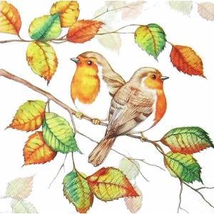 Ambiente オランダ ペーパーナプキン 小鳥と秋景色 Robins In Autumn バラ売り2枚1セット デコパージュ ドリパージュ|ccpopo