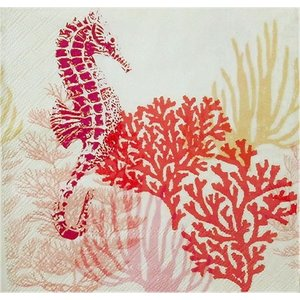 Ambiente オランダ ペーパーナプキン タツノオトシゴ 海中 赤 Coral Red 13311326 バラ売り2枚1セット デコパージュ ドリパージュ|ccpopo