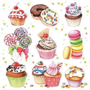 Ambiente オランダ ペーパーナプキン スイーツ カップケーキ Sweets 13311410 バラ売り2枚1セット デコパージュ ドリパージュ|ccpopo