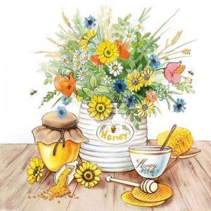 Ambiente オランダ ペーパーナプキン はちみつ ハチミツ 花 Honey 13311640 バラ売り2枚1セット デコパージュ ドリパージュ|ccpopo