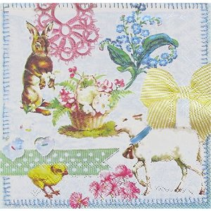 Ambiente オランダ ペーパーナプキン イースターカレッジ Easter Collage 23301635 バラ売り2枚1セット デコパージュ ドリパージュ|ccpopo