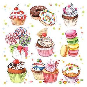 1枚バラ売り25cmペーパーナプキン Ambiente オランダ スイーツ カップケーキ Sweets 12511410 紙コースター デコパージュ ドリパージュ|ccpopo