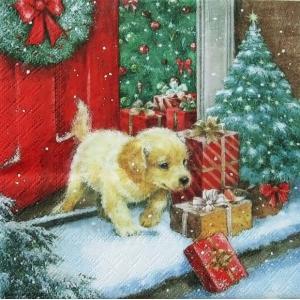Ambiente オランダ ペーパーナプキン クリスマス パピィ 子犬 X-Mas Puppy バラ売り2枚1セット デコパージュ ドリパージュ 33304280 ccpopo
