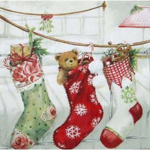 Ambiente オランダ ペーパーナプキン クリスマス ストッキング Christmas Stockings バラ売り2枚1セット デコパージュ ドリパージュ 33304565|ccpopo