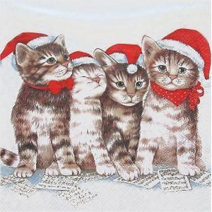Ambiente オランダ ペーパーナプキン 歌う猫達 Singing Cats 33304765 バラ売り2枚1セット デコパージュ ドリパージュ ccpopo