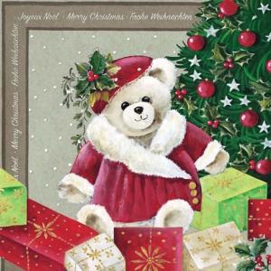 Ambiente オランダ ペーパーナプキン クリスマス テディベア Christmas Bear 33305030 バラ売り2枚1セット デコパージュ ドリパージュ ccpopo