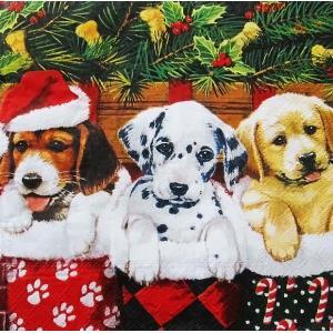 Ambiente オランダ ペーパーナプキン クリスマス 犬 ドッグ Doggies バラ売り2枚1セット デコパージュ ドリパージュ 33305090 ccpopo