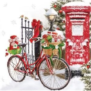 Ambiente オランダ ペーパーナプキン Bike In Snow 雪の中の自転車 33310520 バラ売り2枚1セット デコパージュ ドリパージュ|ccpopo