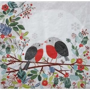 Ambiente オランダ ペーパーナプキン Robins on Branch バラ売り2枚1セット デコパージュ ドリパージュ 33310850|ccpopo