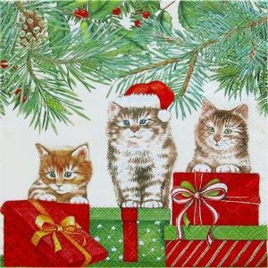 Ambiente オランダ ペーパーナプキン 3匹の猫 Three Cats 33311035 バラ売り2枚1セット デコパージュ ドリパージュ ccpopo