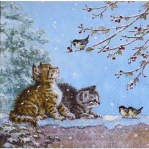 Ambiente オランダ ペーパーナプキン 鳥を眺める子猫 WATCHING BIRDS 33311900 バラ売り2枚1セット デコパージュ ドリパージュ ccpopo