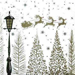 Ambiente オランダ ペーパーナプキン クリスマス 木々を駆け抜けるソリ Sleigh Above Trees 33311930 バラ売り2枚1セット デコパージュ ドリパージュ|ccpopo