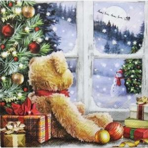 Ambiente オランダ ペーパーナプキン 窓辺を眺めるテディベア Teddy Looking At Santa 33312215 バラ売り2枚1セット デコパージュ ドリパージュ ccpopo
