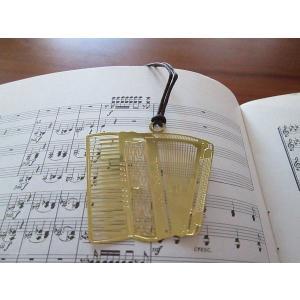 おしゃれな楽器のしおり アコーディオン金色のブックマーク18KGP ccpopo