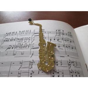 おしゃれな楽器のしおり サックス sax 金色のブックマーク18K GP ccpopo