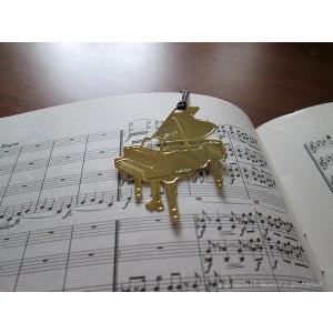 おしゃれな楽器のしおり ピアノ金色のブックマーク 18K GP ccpopo