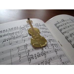 おしゃれな楽器のしおり バイオリン 金色のブックマーク 18K GP ccpopo