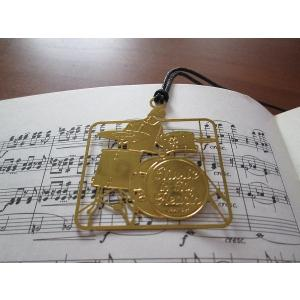 おしゃれな楽器のしおり ドラムセット 金色のブックマーク18K GP ccpopo