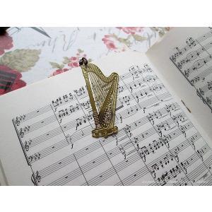 おしゃれな楽器のしおりハープ 金色のブックマーク 18K Gold-P ccpopo