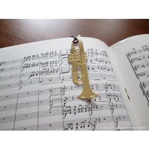 おしゃれな楽器のしおり トランペット金色のブックマーク 18K GP ccpopo