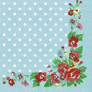 廃盤 レア品 ペーパーナプキン キャスキッドソン Cath Kidston FOLK FLOWERS blue バラ売り2枚1セット L-455040 デコパージュ ドリパージュ|ccpopo