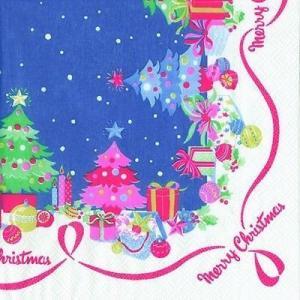 廃盤 レア品 ペーパーナプキン キャスキッドソン Cath Kidston クリスマスボーダー ブルー バラ売り2枚1セット L-470840 デコパージュ ドリパージュ|ccpopo