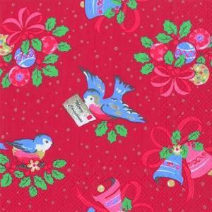 廃盤 レア品 ペーパーナプキン キャスキッドソン Cath Kidston CHRISTMAS BIRDS red バラ売り2枚1セット L-492810 デコパージュ ドリパージュ|ccpopo