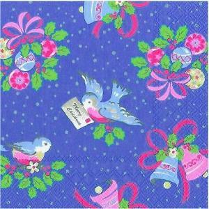 廃盤 レア品 ペーパーナプキン キャスキッドソン Cath Kidston CHRISTMAS BIRDS blue バラ売り2枚1セット L-492840 デコパージュ ドリパージュ|ccpopo