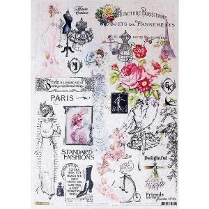 ロシア 露 クラフトプレミア Craft Premier 作品販売可デコパージュ用ライスペーパー A3 「フランス パリのファッション」 25g/m CD01730 正規輸入品|ccpopo