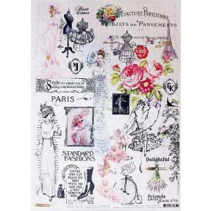 ロシア 露 クラフトプレミア Craft Premier 作品販売可デコパージュ用ライスペーパー A4 「フランス パリのファッション」 25g/m CD01730-1 正規輸入品|ccpopo