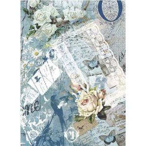 ロシア 露 クラフトプレミア Craft Premier 作品販売可デコパージュ用ライスペーパー A3 「ブルーバタフライ」 25g/m CD01839  正規輸入品|ccpopo