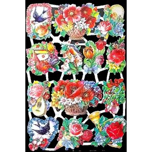 作品販売可能 ドイツ製クロモス 1シート 7001g ラメ有 コラージュ デコパージュなどのハンドメイド素材に 薔薇 バラ 花 鳥|ccpopo