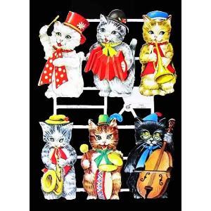 作品販売可能 ドイツ製クロモス 1シート 7043 ラメ無 コラージュ デコパージュなどのハンドメイド素材に 猫の音楽隊 キャット ネコ Kinder im Urlaub|ccpopo
