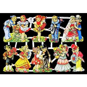 作品販売可能 ドイツ製クロモス パーティを楽しむ子供達 7045 ラメ無し コラージュ デコパージュ スクラップブッキング|ccpopo