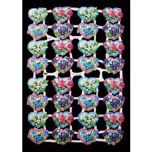 作品販売可能 ドイツ製クロモス 1シート 7132 ラメ無 コラージュ デコパージュなどのハンドメイド素材に 小さな花 ハート パーツ|ccpopo