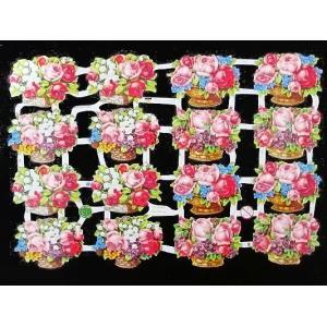 作品販売可能 ドイツ製クロモス 花籠・バラ・すずらん・7134 1シート ラメ無 コラージュ デコパージュなどのハンドメイド素材に|ccpopo