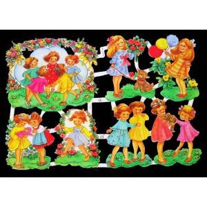 作品販売可能 ドイツ製クロモス 1シート 7167 ラメ無 コラージュ デコパージュなどのハンドメイド素材に 子供たちのお誕生日会 Kinder beim Geburtstag|ccpopo