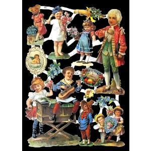 作品販売可能 ドイツ製クロモス バロック調の服を着た子供達 7175 ラメ無し コラージュ デコパー...