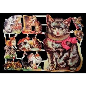 作品販売可能 ドイツ製クロモス 1シート 7214 ラメ無 コラージュ デコパージュなどのハンドメイド素材に 猫 キャット|ccpopo