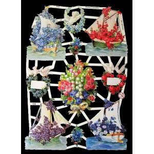 作品販売可能 ドイツ製クロモス 1シート 7251 ラメ無 コラージュ デコパージュなどのハンドメイド素材に 花々に飾られた船 Blumenschiffe|ccpopo