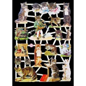 作品販売可能 ドイツ製クロモス 1シート 7288 ラメ無 コラージュ デコパージュなどのハンドメイド素材に 猫 キャット|ccpopo